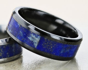 Personalized Engraved Bevel Edged Blue Lapis Lazuli Ring Stone Inlay Black Ceramic Wedding - 8mm Available - Lifetime Size Exchanges