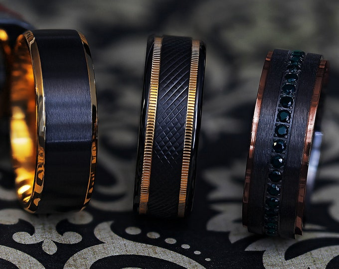 Custom Engraved Gold and Black Themed Wedding Rings in Black Titanium - 8mm Available - Lifetime Size Exchanges