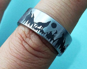 Engraved Howling Wolf Moon Forest Mountain Landscape Scene Tungsten Ring Flat Polished Finish - 4mm to 12mm - Lifetime Size Exchanges