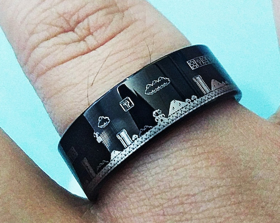 Engraved Super Mario Bros Level Pixel Mushroom Black Tungsten Ring Flat Polished Finish - 4mm to 12mm Available - Lifetime Size Exchanges