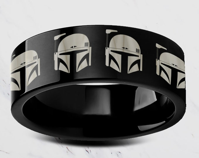 Engraved Star Wars The Mandalorian Boba Fett Helmet Head Symbol Gunslinger Black Tungsten Ring Flat and Polished - 4mm to 12mm Available