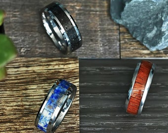 Personalized Tungsten Carbide Inlay Ring - Real Lava Rock - Royal Blue Lapis Lazuli - Golden Koa Wood - 8mm Wide - Lifetime Size Exchanges