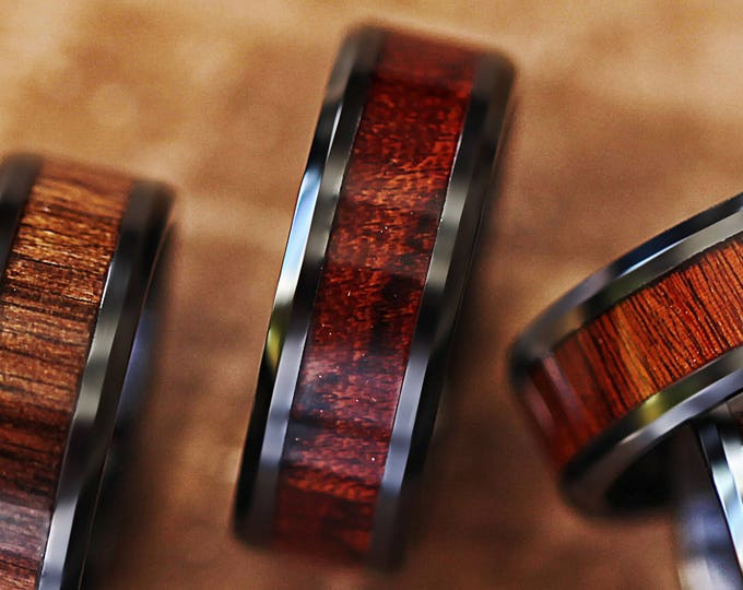 Custom Personalized Engraved Beveled Red Wood Inlay Black Ceramic Ring - 8mm Available - Lifetime Size Exchanges