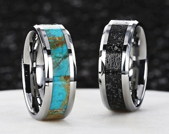 Personalized Engraved Turquoise Stone or Lava Rock Inlay Tungsten Wedding Rings - 8mm Available - Lifetime Size Exchanges