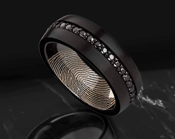 Featured listing image: Actual Fingerprint Ring Domed Brushed Black Tungsten Engraved Wedding Band with Black Sapphires - 8mm Available - Lifetime Size Exchanges