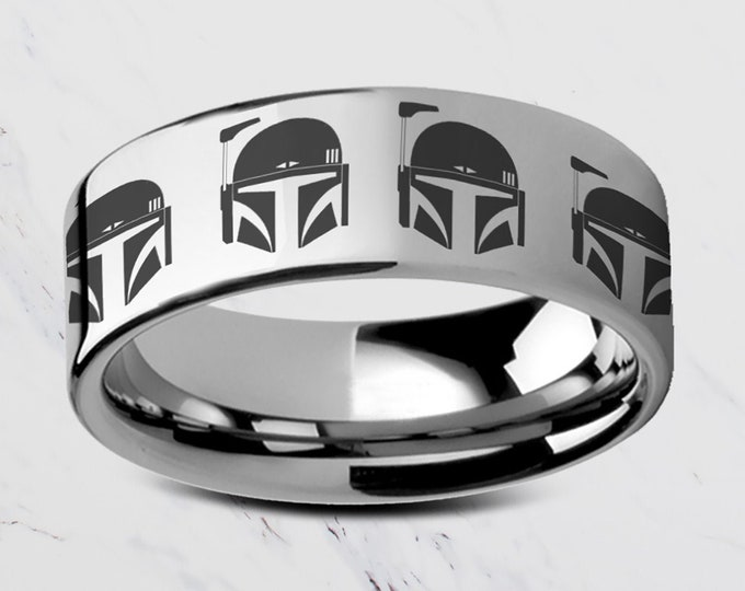 Engraved Star Wars The Mandalorian Boba Fett Helmet Head Symbol Gunslinger Tungsten Ring Flat and Polished - 4mm to 12mm Available