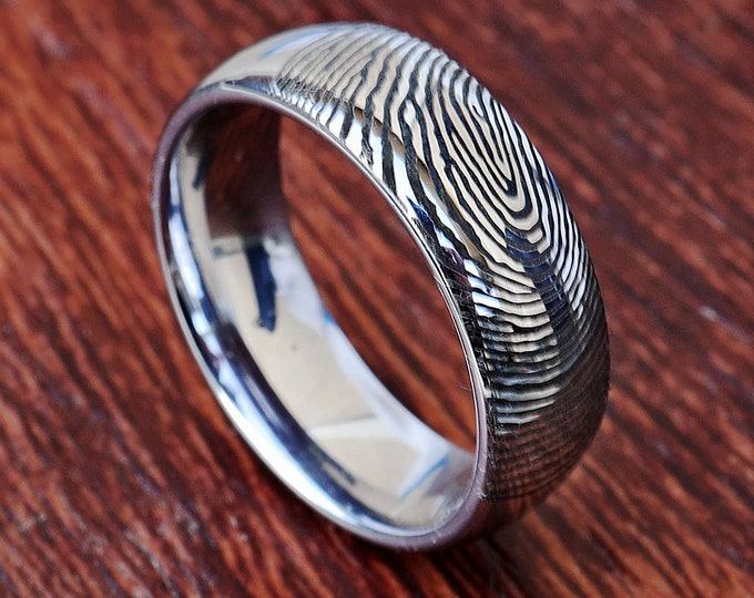Real Fingerprint Ring Tungsten Carbide Engraved Wedding Band Domed and Polished - 4mm to 12mm Available - Thumbprint Ring