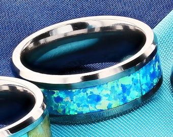 Personalized Engraved Bevel Edged Blue and Teal Opal Inlay Tungsten Carbide Ring - 8mm Available - Lifetime Size Exchanges