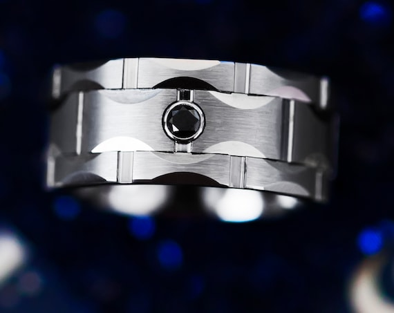 Custom Engraved Ring Tungsten Carbide Multiple Moon Groove Facets Brushed Finish - Black Diamond - 10mm Available - Lifetime Size Exchanges
