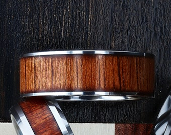 Custom Personalized Engraved Flat Koa Wood Inlay Tungsten Carbide Ring - 8mm Available - Lifetime Size Exchanges