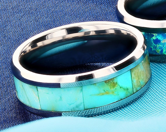 Personalized Engraved Bevel Edged Real Blue Turquoise Inlay Tungsten Carbide Ring - 8mm Available - Lifetime Size Exchanges