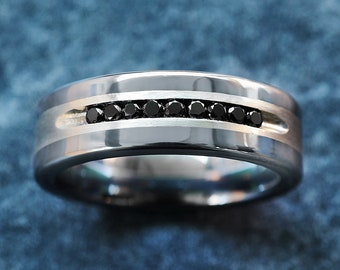 Mens Black Diamond Ring Black Diamonds in Brushed Silver Inlay Finish Mens Tungsten Carbide Ring - 8mm Available - Lifetime Size Exchanges