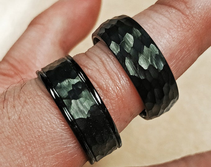 Hammered Black Ring Brushed Finish Domed and Flat with Parallel Edge Grooves - 6mm & 8mm Available - Lifetime Size Exchanges