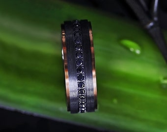 Engraved Raised Brushed Center Black Titanium Ring with Black Sapphires and Polished Rose Gold Edge - 8mm - Lifetime Size Exchanges