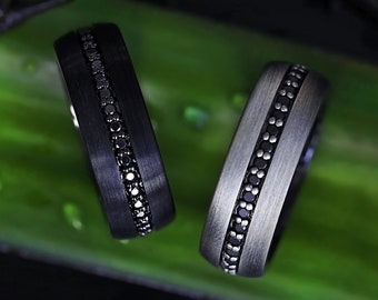 Engraved Domed Brushed Black Tungsten Engraved Wedding Band with Black Sapphires - 8mm Available - Lifetime Size Exchanges
