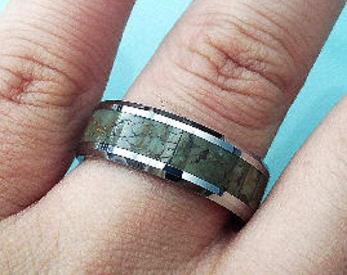 Green Dinosaur Bone Engraved Bevel Edged Real Inlay Tungsten Carbide Ring - 8mm Available - Lifetime Size Exchanges