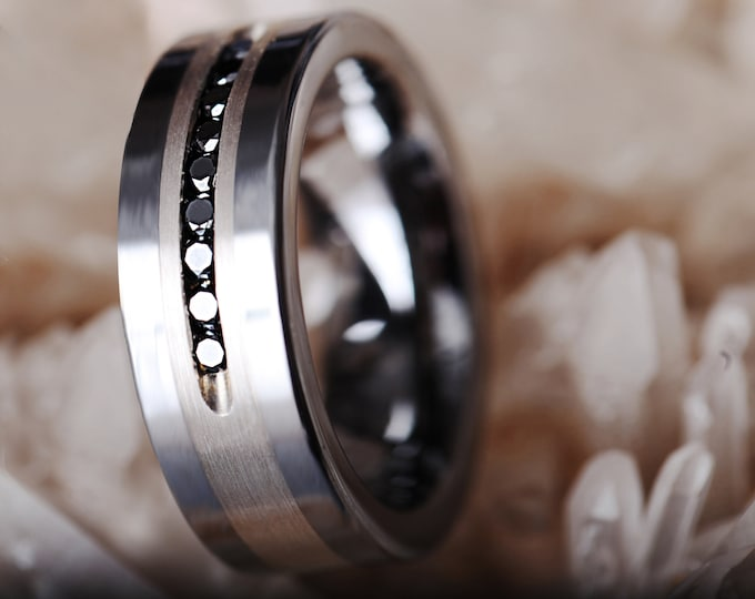 Custom Engraved Ring Tungsten Ring Black Diamonds in Brushed Silver Inlay Finish - Black Diamond - 8mm Available - Lifetime Size Exchanges