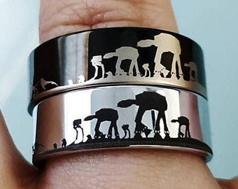 Engraved Star Wars Battle of the Hoth Scene ATAT ATST Tungsten Ring Flat and Polished - 4mm to 12mm Available - Lifetime Size Exchanges