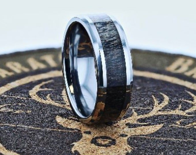 Deer Antler Inlay Tungsten Carbide Ring Dark Polished Beveled Edge - 8mm Available - Lifetime Size Exchanges