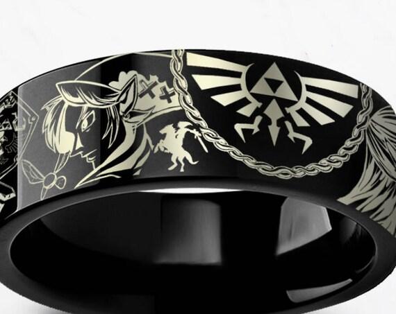 Engraved Zelda Mosaic Ocarina Links Master Sword & Shield Majora Black Tungsten Ring Flat Polished - 4mm to 12mm - Lifetime Size Exchanges