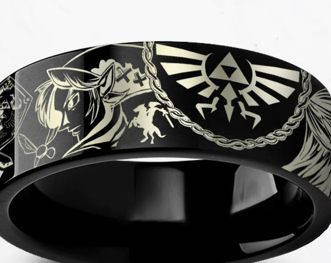 Engraved Zelda Mosaic Ocarina Links Master Sword & Shield Majora Black Tungsten Ring Flat Polished - 4mm to 12mm - Lifetime Size Exchanges
