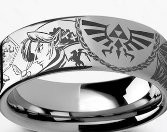 Engraved Zelda Mosaic Ocarina Links Master Sword & Shield Majora Titanium Ring Flat Polished - 4mm to 12mm - Lifetime Size Exchanges