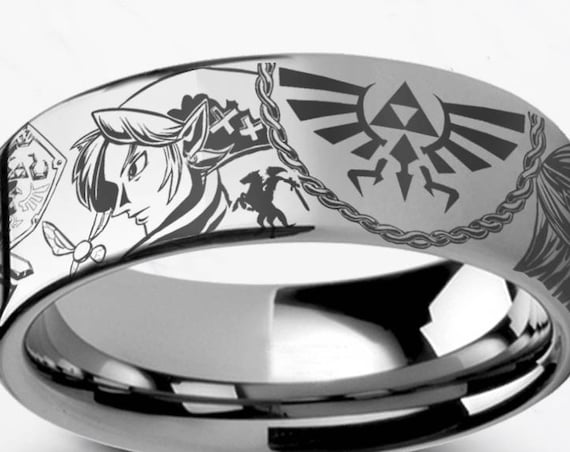 Engraved Zelda Mosaic Ocarina Links Master Sword & Shield Majora Tungsten Ring Flat Polished - 4mm to 12mm - Lifetime Size Exchanges