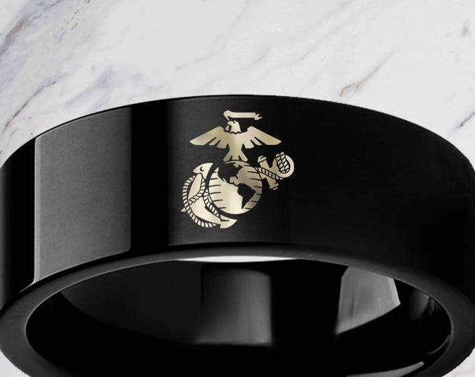 Engraved Military Army Marine Navy Air Force Coast Guard Black Tungsten Ring Flat Polished - 4mm to 12mm Available - Lifetime Size Exchanges