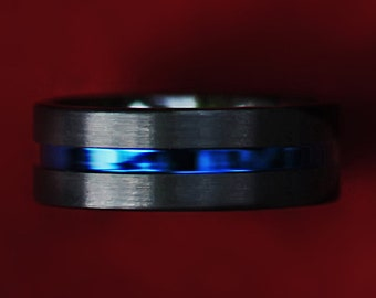 Personalized Engraved Brushed Black Ceramic Zirconium Polished Blue Groove Ring - 8mm Available - Lifetime Size Exchanges