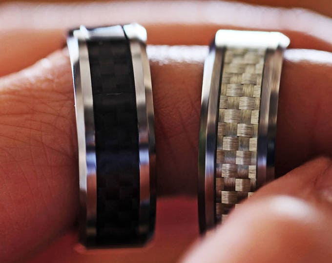Actual Fingerprint Ring Carbon Fiber Tungsten Carbide Engraved Wedding Band Brushed - 4mm - 12mm Available - Lifetime Size Exchanges