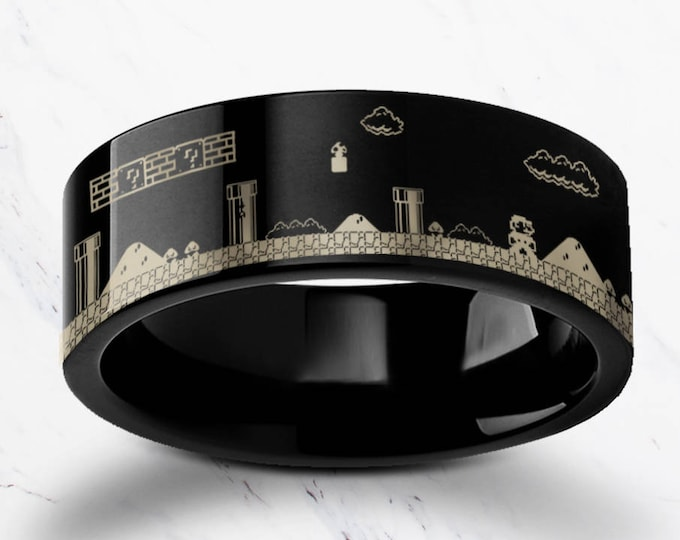 Engraved Super Mario Bros Level Pixel Mushroom Black Tungsten Ring Flat Polished Finish - 4mm to 12mm Available