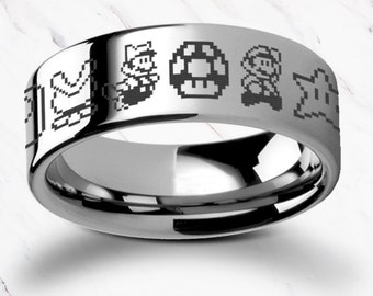 Engraved Super Mario Bros Pixel Symbol Goomba Yoshi Symbols Tungsten Carbide Ring Flat Polished - 4mm to 12mm - Lifetime Size Exchanges