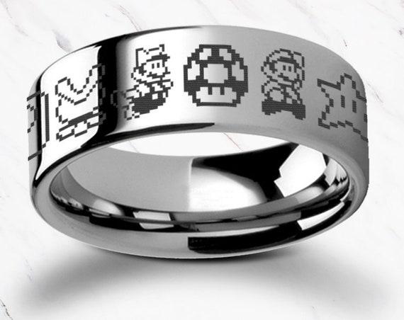 Engraved Super Mario Bros Pixel Symbol Goomba Yoshi Symbols Tungsten Carbide Ring Flat Polished - 4mm to 12mm - Lifetime Size Exchanges