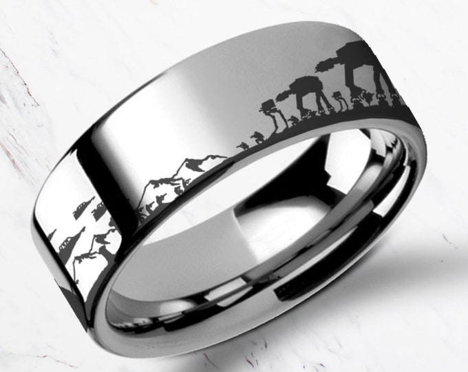 Engraved Star Wars Battle of the Hoth Scene ATAT ATST Titanium Ring Flat and Polished - 4mm to 12mm Available - Lifetime Size Exchanges