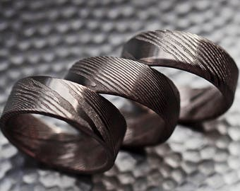 Minimal Rustic Damascus Steel Wedding Ring - 3 styles Available Flat Domed & Beveled - 8mm - Lifetime Size Exchanges