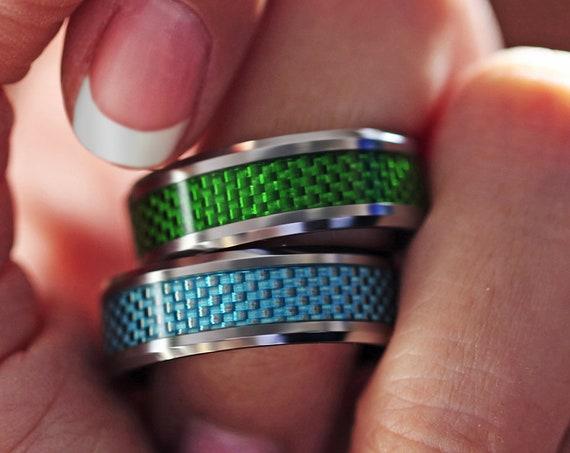 Fingerprint Ring Blue or Green Carbon Fiber Tungsten Carbide Engraved Wedding Band Polished - 8mm Available - Lifetime Size Exchanges