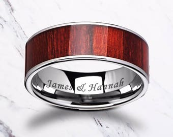 Custom Personalized Engraved Flat Padauk Wood Inlay Tungsten Carbide Ring - 8mm Available - Lifetime Size Exchanges