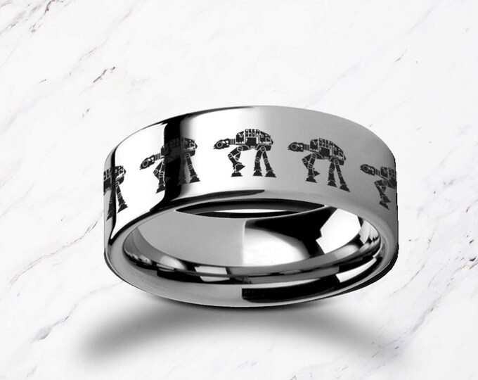 Engraved Walking ATAT ATST Star Wars Tungsten Ring Flat Polished Finish - 4mm to 12mm Available - Lifetime Size Exchanges