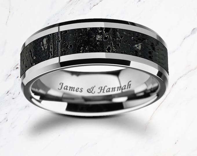 Lava Inlay Ring Personalized Engraved Bevel Edged Real Lava Rock Inlay Tungsten Carbide Ring - 8mm Available - Lifetime Size Exchanges