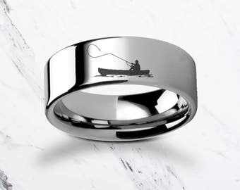 Engraved Fisherman Fly Fishing Boat Tungsten Ring Flat Polished Finish - 4mm to 12mm Available - Lifetime Size Exchanges