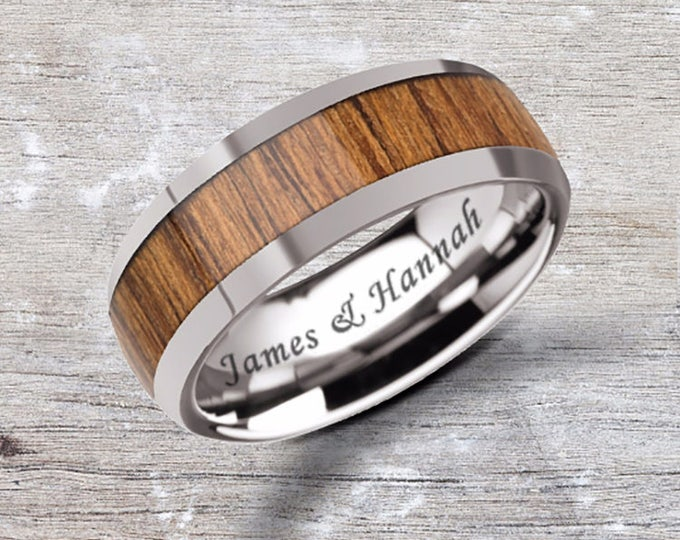 Custom Personalized Engraved Domed Teak Wood Inlay Tungsten Carbide Ring - 8mm Available - Lifetime Size Exchanges