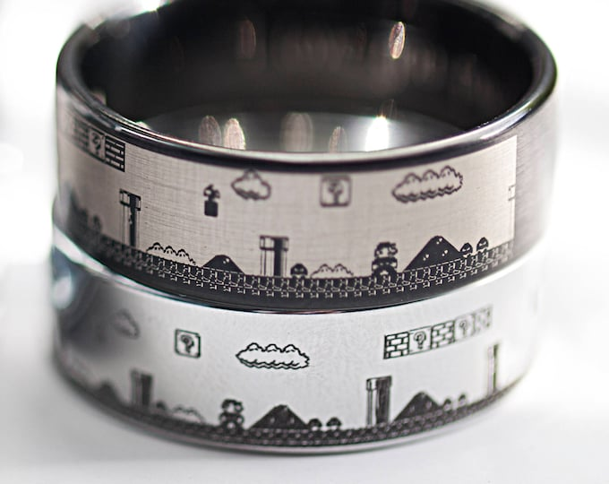 Super Mario Bros Video Game Wedding Band, Video Game Themed Wedding Ring, Retro Game Ring - Multiple Colors Available