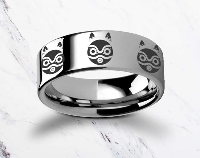 Engraved Princess Mononoke San Mask Tungsten Ring Flat Polished Finish - 4mm to 12mm Available - Lifetime Size Exchanges