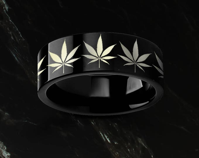 Engraved Weed Marijuana Leaf Black Tungsten Ring Flat and Polished - 4mm to 12mm - Lifetime Size Exchanges
