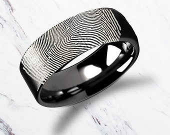 Actual Fingerprint Ring Black Tungsten Carbide Engraved Wedding Band Flat and Polished - 4mm to 12mm Available - Lifetime Size Exchanges