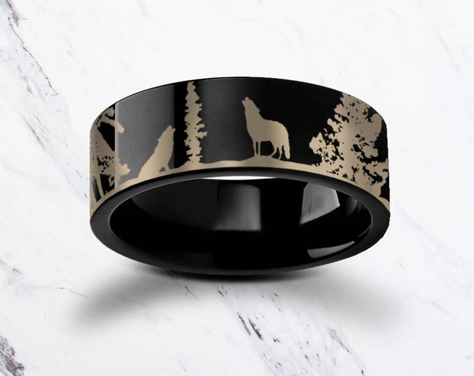 Engraved Howling Wolf Wolves Landscape Scene Black Tungsten Ring Flat Polished Finish - 4mm to 12mm Available - Lifetime Size Exchanges