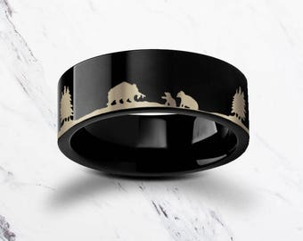 Engraved Bear Family Mother Bear Black Tungsten Ring Flat Polished Finish  - 4mm to 12mm Available - Lifetime Size Exchanges
