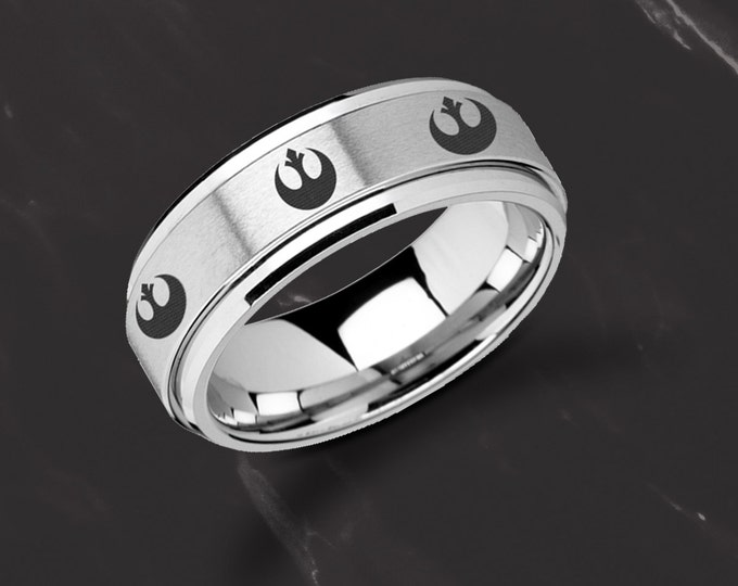 Laser Engraved Fidget Spinner Ring Star Wars Rebel Alliance or Jedi Order Symbol Satin & Polished Edges - 8mm - Lifetime Size Exchanges