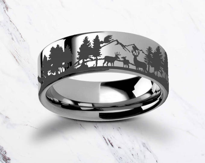 Engraved Deer Family Mountain Landscape Scene Tungsten Ring Flat Polished Finish - 4mm to 12mm Available - Lifetime Size Exchanges