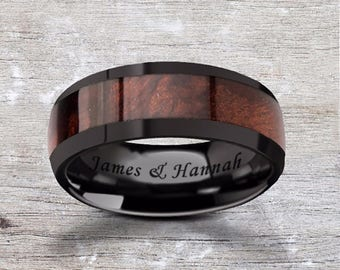 Custom Personalized Engraved Domed Red Wood Inlay Black Ceramic Ring - 8mm Available - Lifetime Size Exchanges